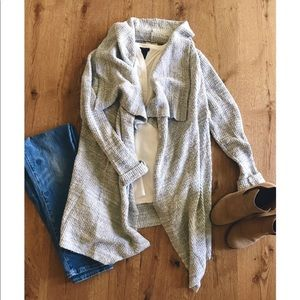 Lou & Grey open front draped grey marled cardigan